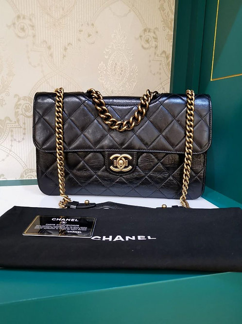 #20 Chanel Perfect Edge Large/Jumbo Black Distressed Calf aged GHW(Cash S$4,150)