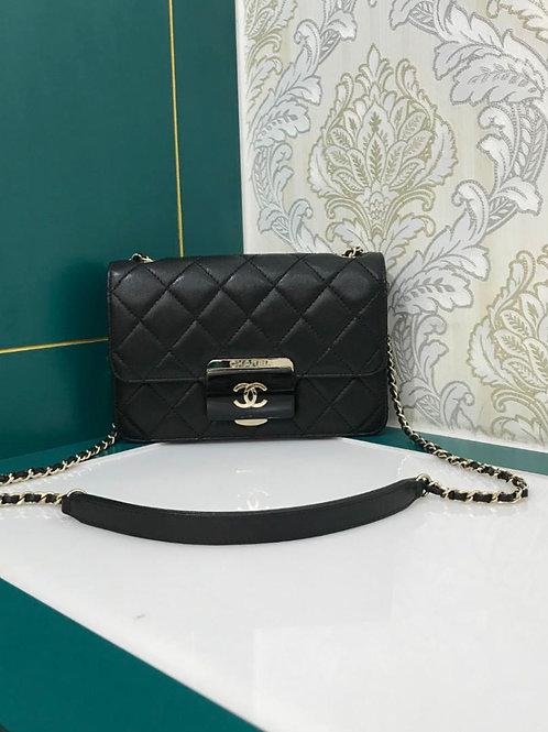 #22 Like New Chanel Beauty Lock Black Mini Sheepskin With GHW