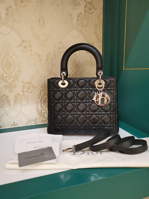 Like New Lady Dior Black Medium Lamb SHW