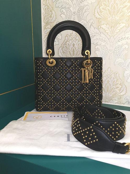 Like New Lady Dior Stud Supple Medium Black Calf with GHW