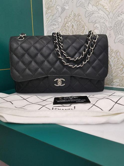 #17 Chanel Jumbo Classic Double Flap Black caviar SHW