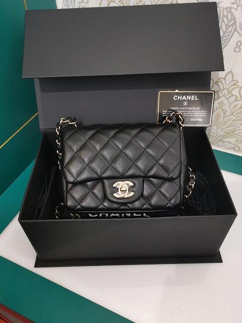 #25 BNIB Chanel Mini Square Black Lamb Light GHW