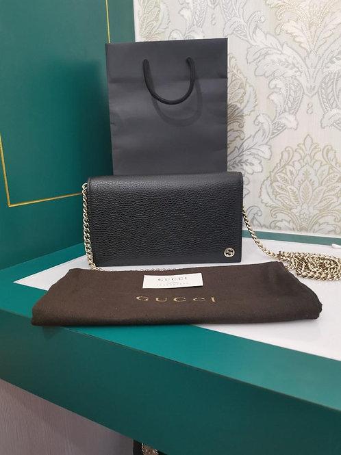 Brand New Gucci Interlocking G Leather Chain Wallet WOC Crossbody Black Light GH