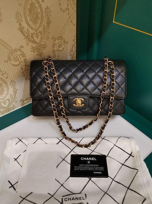 #16 Excellent Chanel Classic Double Flap Black Caviar GHW