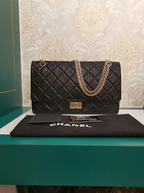 Almost New Chanel Reissue 2.55 227 Black Distressed Calf with GHW