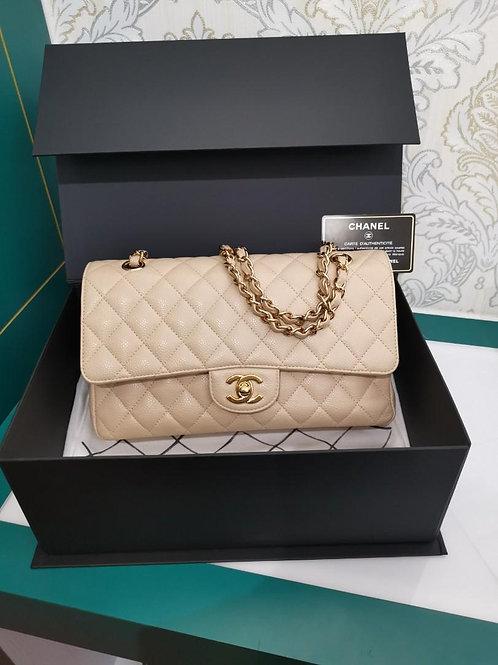 #14 Chanel Medium Classic Double Flap Beige Caviar GHW