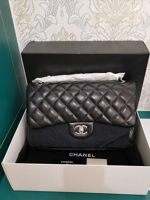 Almost Brand New Chanel Jumbo Classic Double Flap Black Lamb with SHW