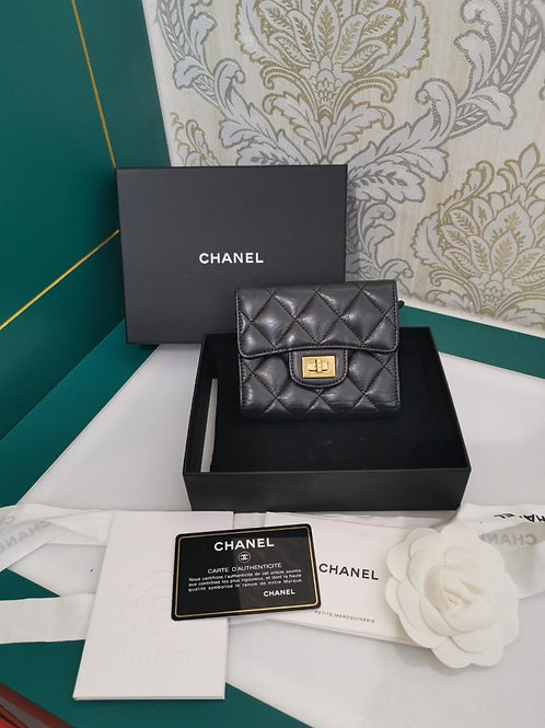 #22 LNIB Chanel Compact Wallet Black Distressed Calf aged GHW
