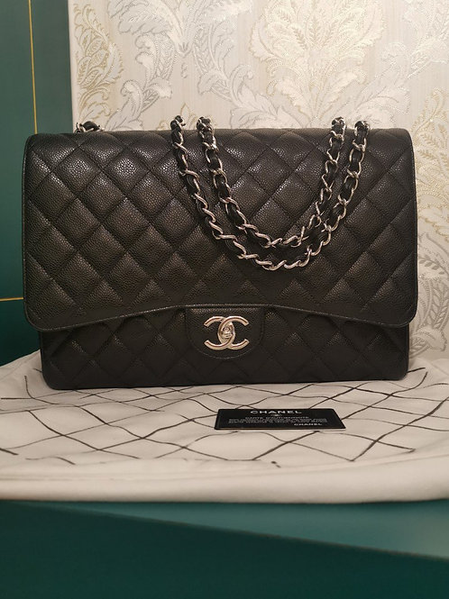 #18 Brand New Chanel Maxi Double Flap Black Caviar with SHW