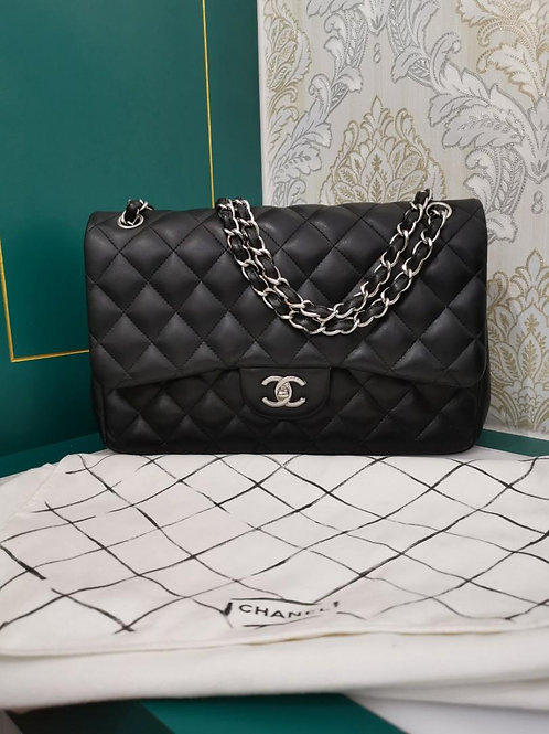 #14 Like New Chanel Jumbo Classic Double Flap Black Lamb with SHW