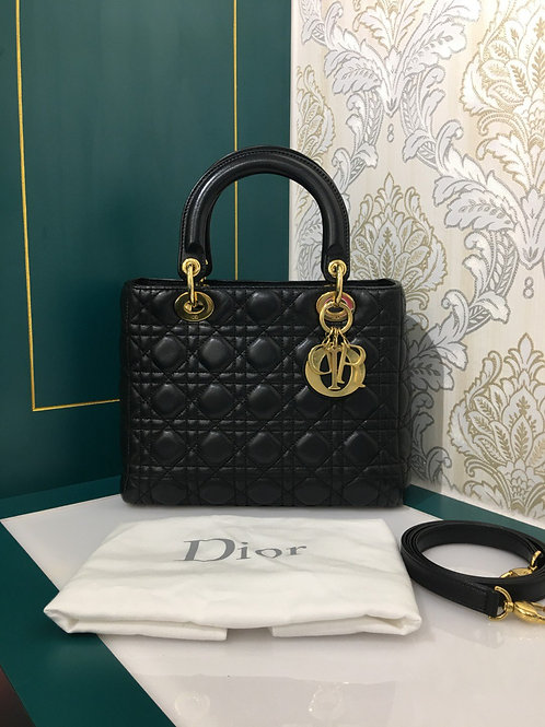 Lady Dior Medium Black Lamb with GHW