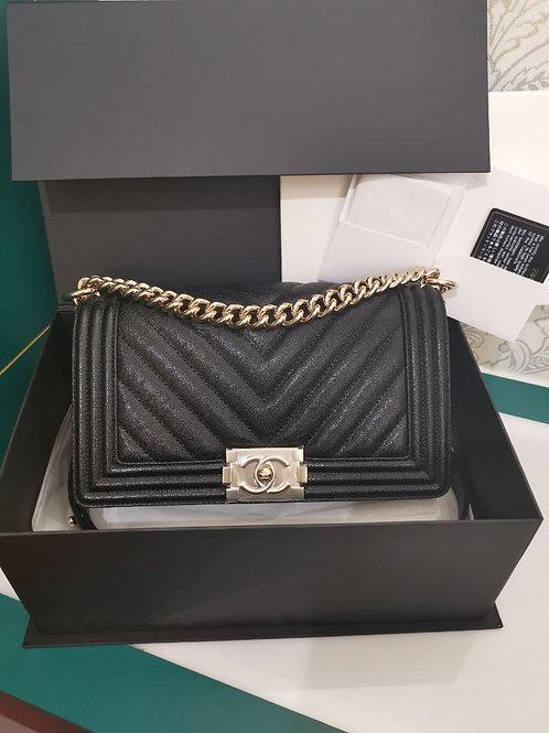 #28 BNIB Chanel Boy old Medium iridescent Black Caviar with GHW