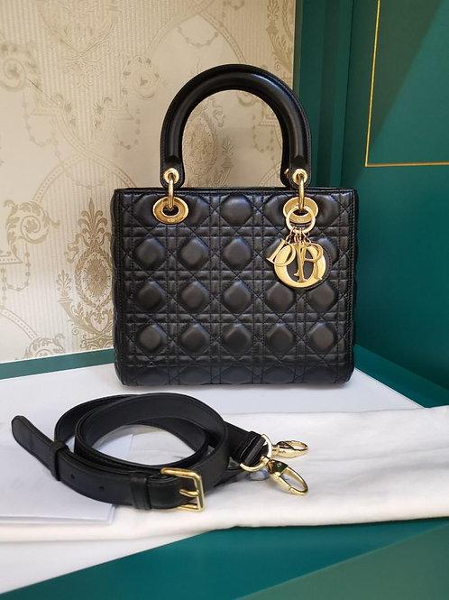 Like New Lady Dior Medium Black Lamb GHW (Cash S$3,880)