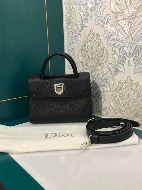 Almost New Diorever mini Black Grained Calf with SHW