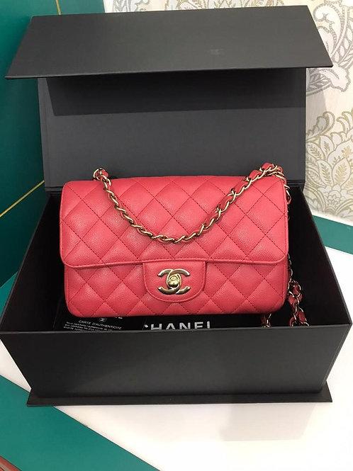 #23 LNIB Chanel Mini rectangular Bright Pink caviar GHW