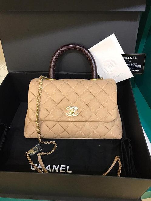 #29 BNIB Chanel Coco Handle Small/Mini Beige/Caramel Caviar GHW (Cash S$6,990)