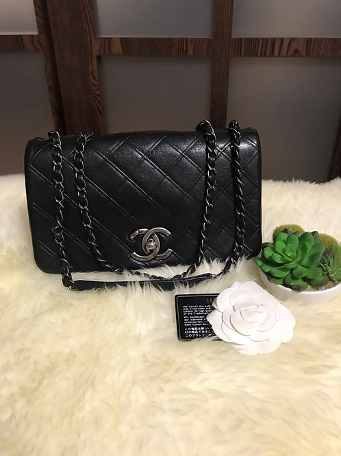 Chanel Seasonal Flap Handbag medium Calfskin Black With Rhw