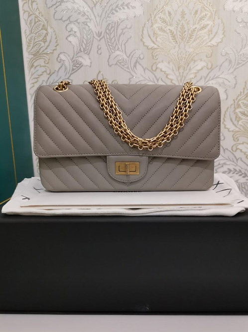 #27 BNIN Chanel Reissue 2.55 225 Grey Calf with aged GHW