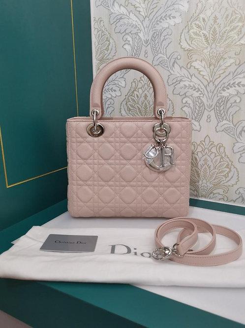 Brand New Lady Dior Medium Powder Pink Grained Calf With SHW