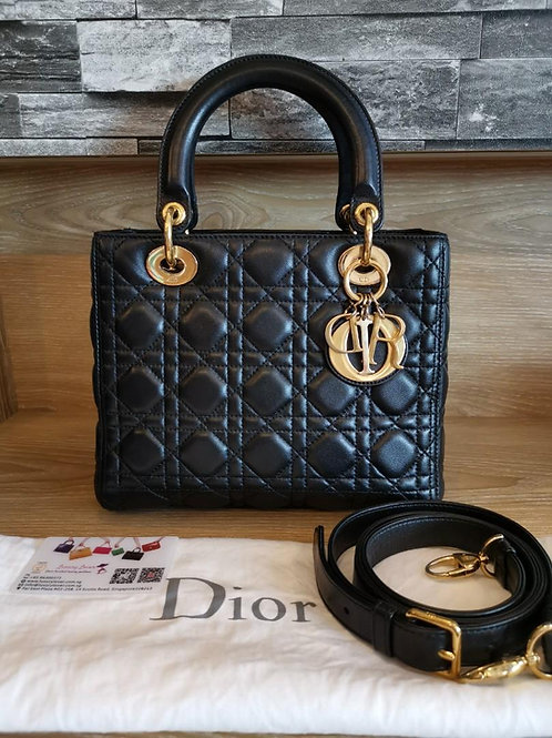 Excellent Lady Dior Medium Black Lamb with GHW