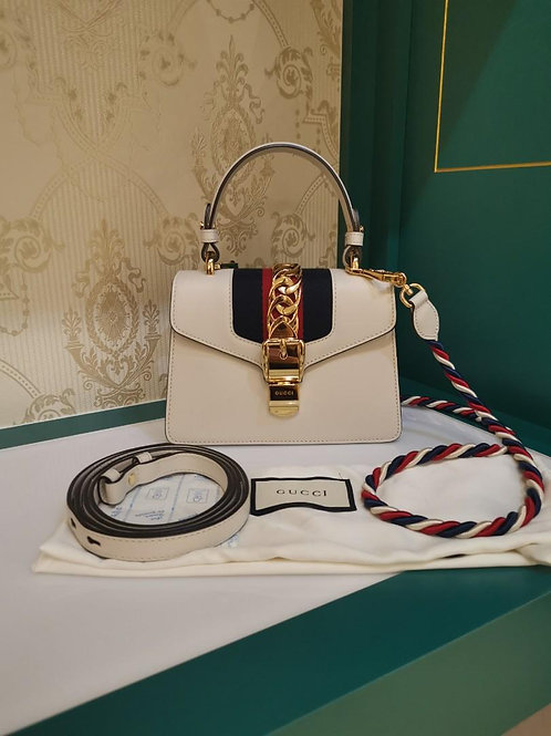 Like New Gucci Sylvie Small Shoulder bag White Calf GHW (Cash S$1,480)
