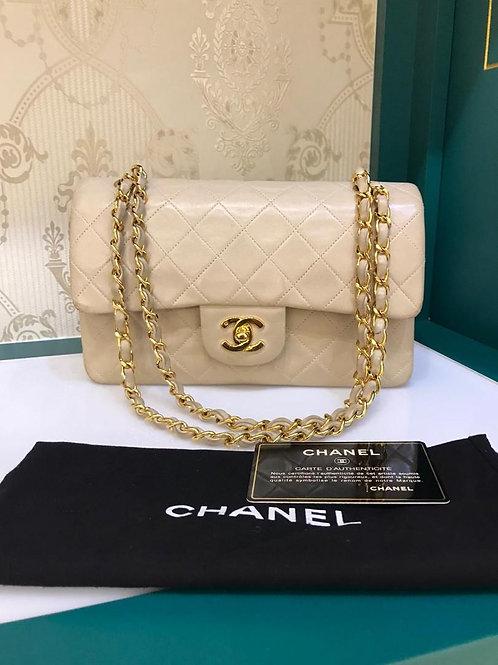 #5 Chanel Vintage Classic Double Flap Beige Lamb Small 24K GHW (Cash S$3,990)