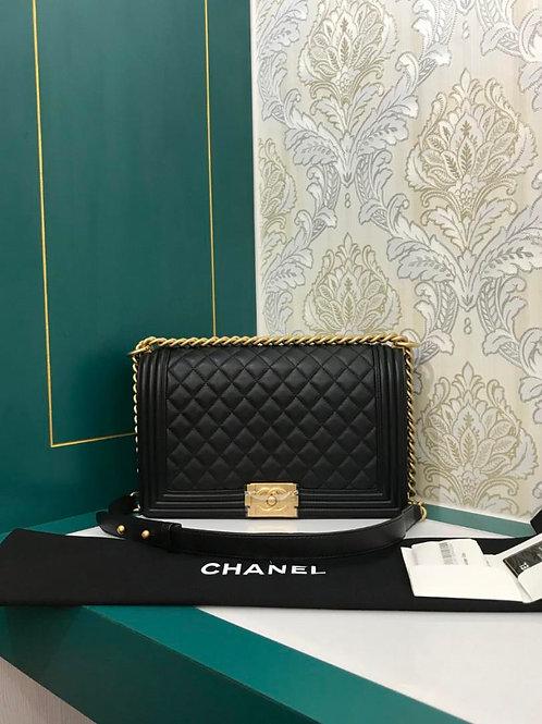 #26 Brand New Chanel Boy New Medium Black Calf with GHW