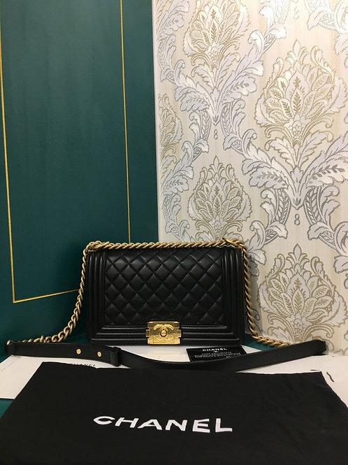 #24 Brand New Chanel Boy Old Medium Black Lambskin with GHW