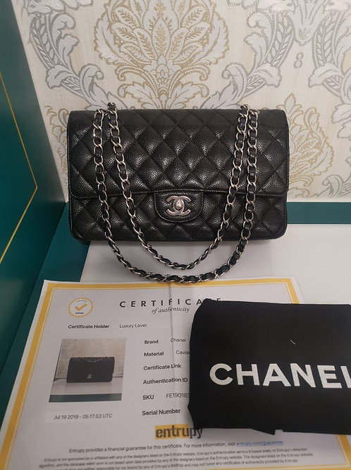 Excellent condition Chanel Medium Classic Double Flap Black Caviar with SHW