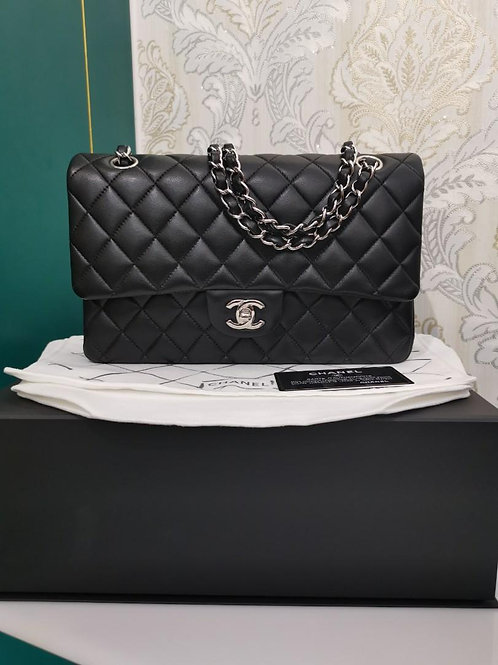 #21 LNIB Chanel Medium Classic Double Flap Black Lamb SHW