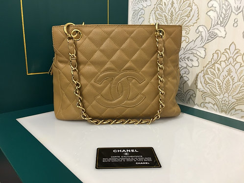 Chanel PTT Petite Timeless Tote Tan Caviar With GHW