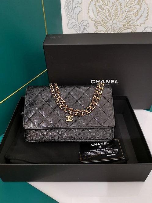 #20 LNIB Chanel WOC black Caviar with GHW