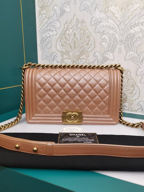#20 Like New Chanel Boy Old Medium Pearly Calfskin Pink with aged GHW