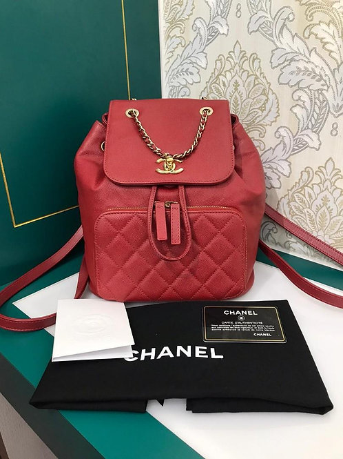 #23 Chanel Backpack Business Affinity Caviar Red with light GHW