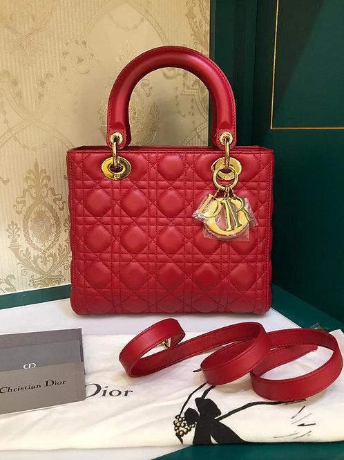 Brand new Lady Dior Medium Red Lamb GHW