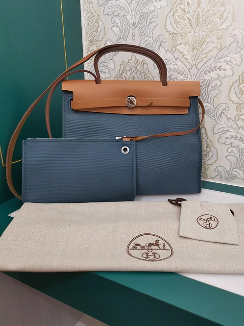 Hermes Herbag 31 Zip Blue Canvas with nature Calf PM