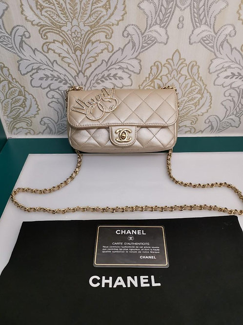 #23 Like New Chanel Extra Mini rectangular Champagne Gold Lamb with GHW