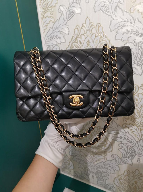 #13 Chanel Medium Classic Double Flap Black Lamb with GHW