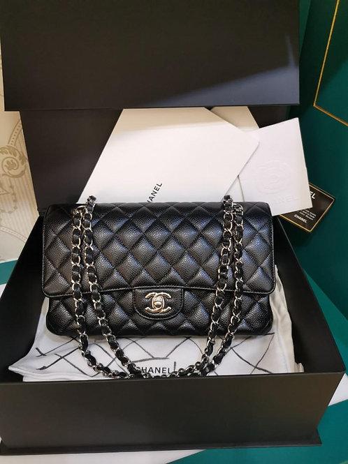 #26 LNIB Chanel Classic Double Flap Medium Black Caviar SHW