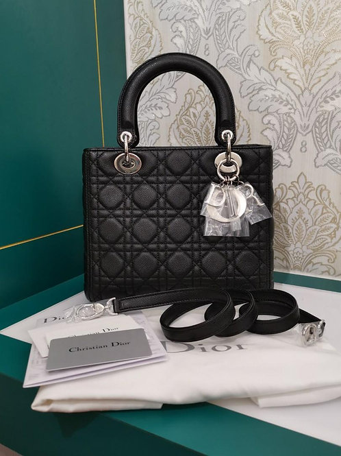 Brand New Lady Dior Black Medium Grained Calf with SHW