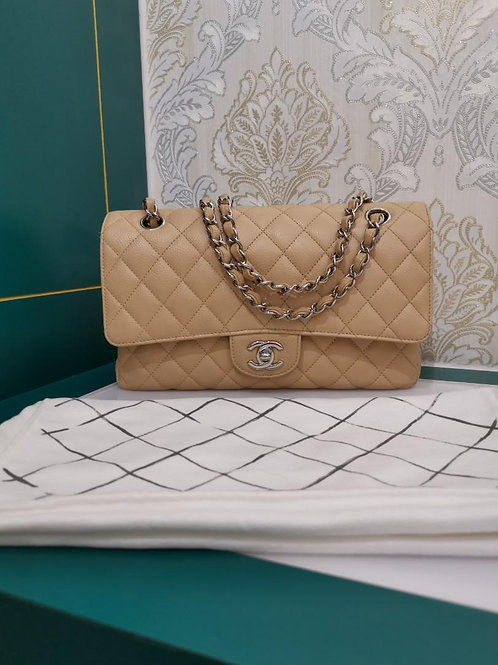 #19 Excellent Chanel Medium Classic Double Flap Beige Caviar with SHW