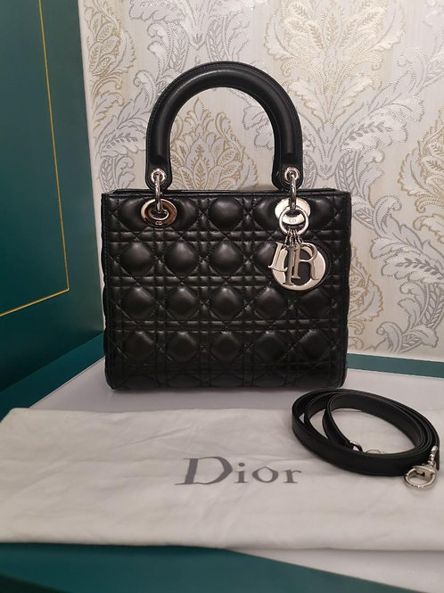 Almost New Lady Dior Medium Black Lamb with SHW