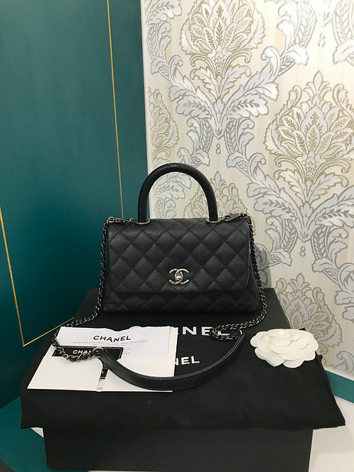 #23 Like New Chanel Coco Handle Mini/Small with lizard handle Black Caviar with