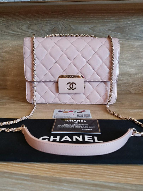 #24 Like New Chanel Beauty Lock Flap Medium Quilted Goatskin Pink with GHW