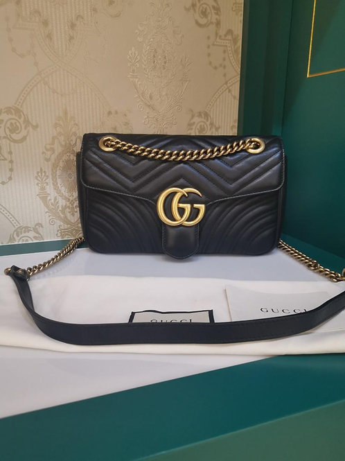 Gucci Marmont Small Black Calf Aged GHW
