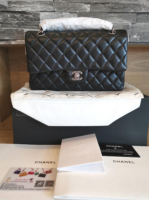 #19 BNIB Chanel Medium Classic Double Flap Black Lamb with SHW