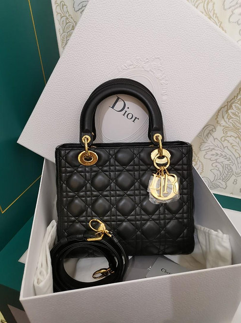 BNIB Lady Dior Medium Black Lamb with Adjustable strap and GHW