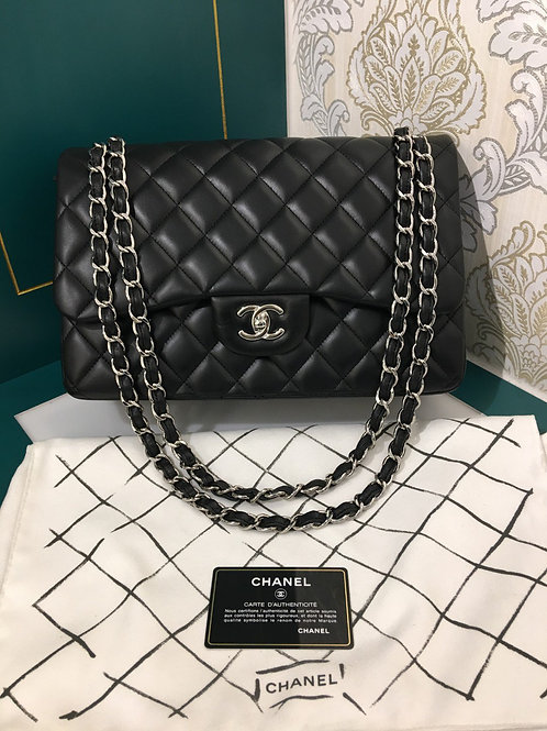 #17 Brand New Chanel Jumbo Classic Double Flap Black Lambskin with SHW