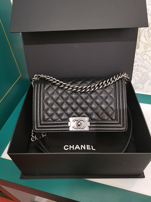 26 LNIB Chanel Boy old medium Black Caviar with RHW
