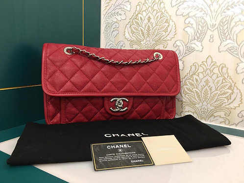 Like new Chanel French Riviera Flap Red Caviar with Shw